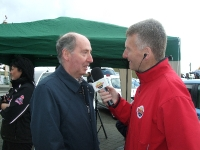 Our Alan interviewing Bishop Brennan at the Motor Show