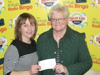 Congratulations to Marie Dunne, Enniscorthy receiving a Rehab Bingo Cheque from Orla McGuinness for 600.  Marie won on the 10th May and purchased her book in Doyle's Duffrey Stores