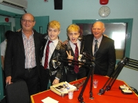 Jedward meeting South East Radio Managers Norman and Eamonn Buttle