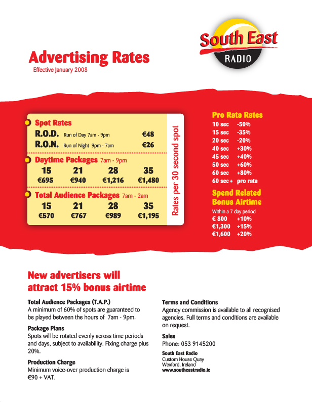 South East Radio Advertising Rate Card   South East Radio