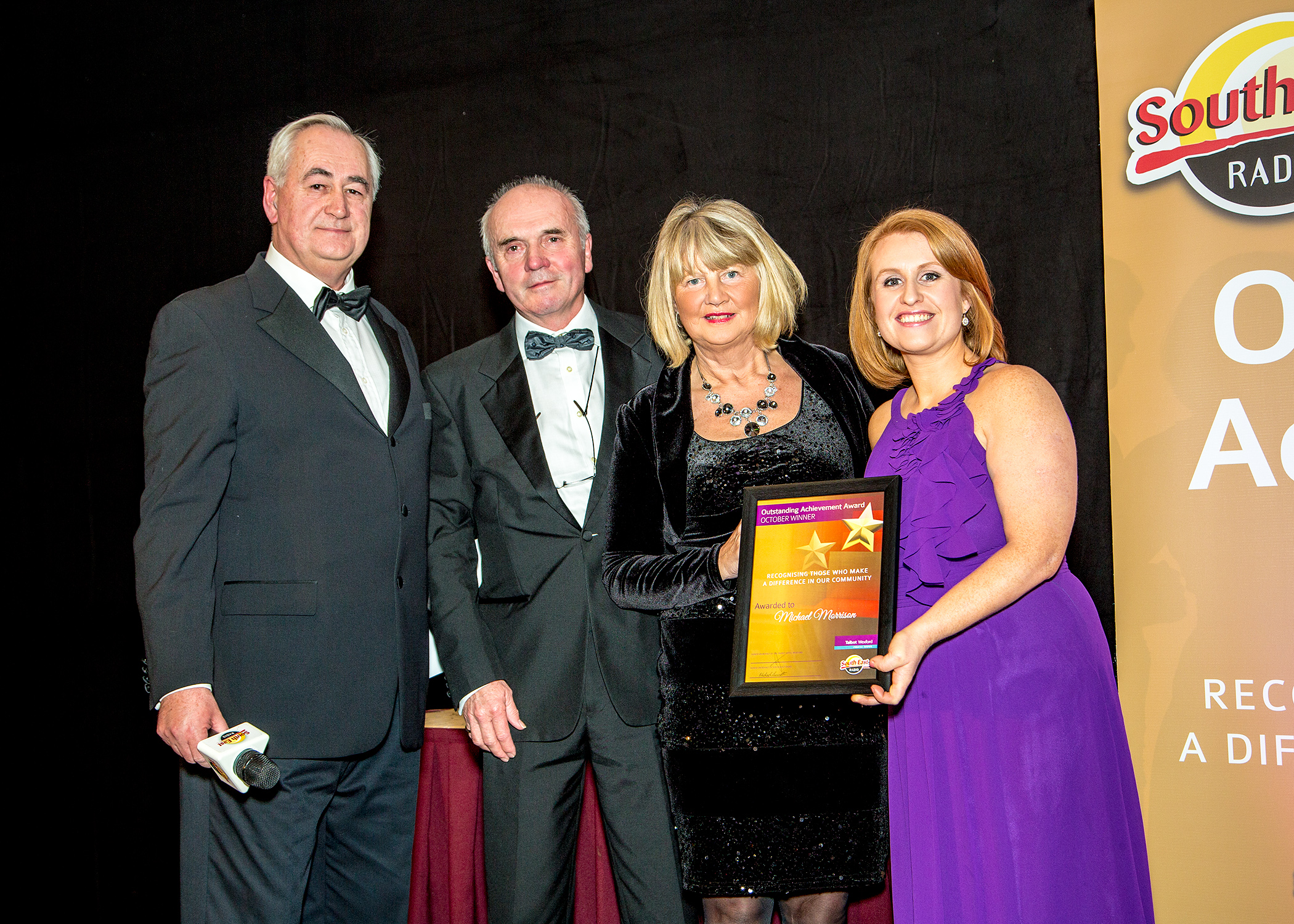 Breda and Edward Morrison accepting the posthumous award of overall winner of the South East Radio Talbot Hotel Outstanding Achievement Award for their son Michael Morrison – click here to view full gallery