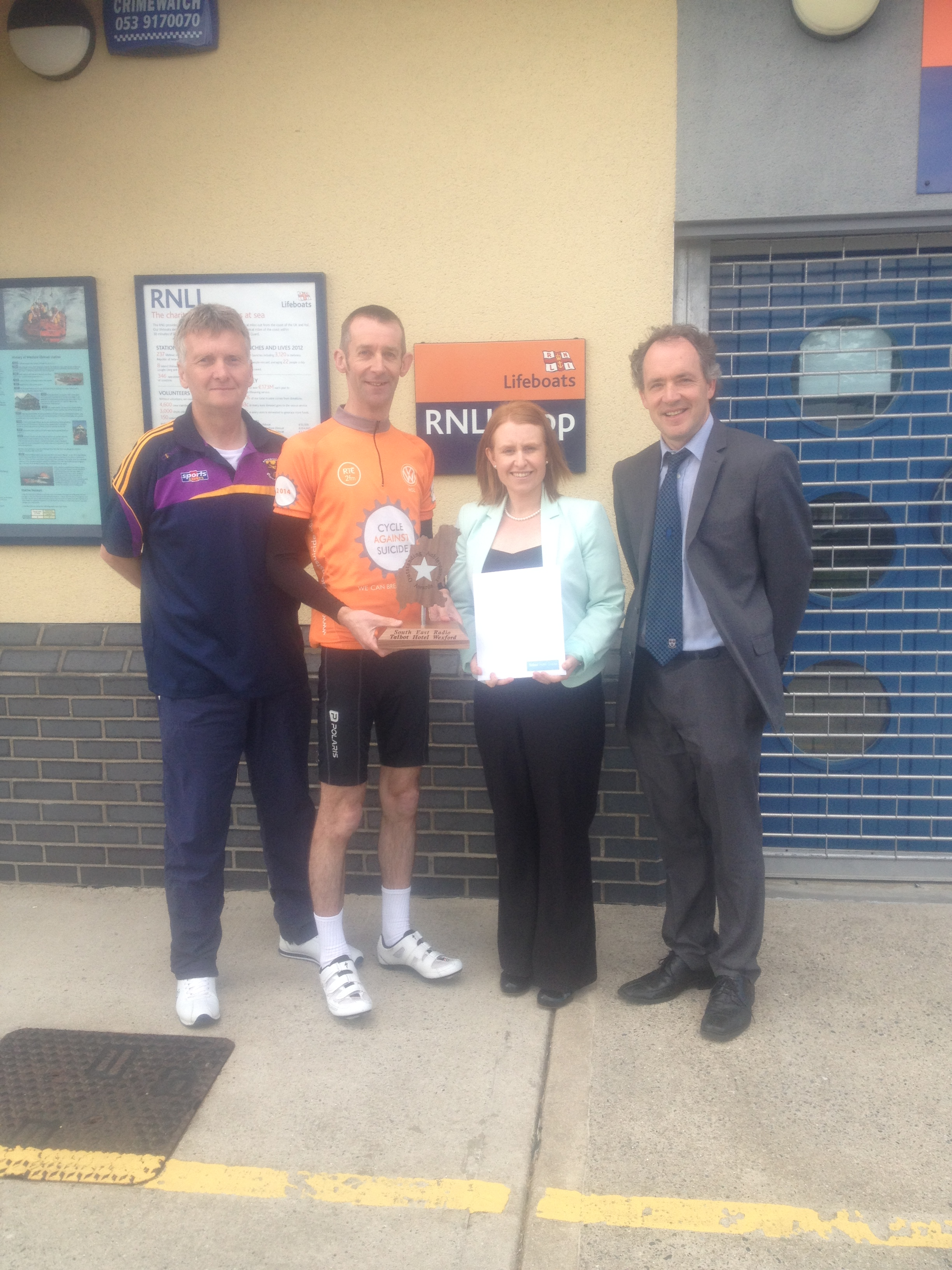 Pictured (l-r) Alan Corcoran (South East Radio), Noel Butler, Sarah Caulfield (Talbot Hotel) and David McGuire ( RNLI/Wexford Wheelers)