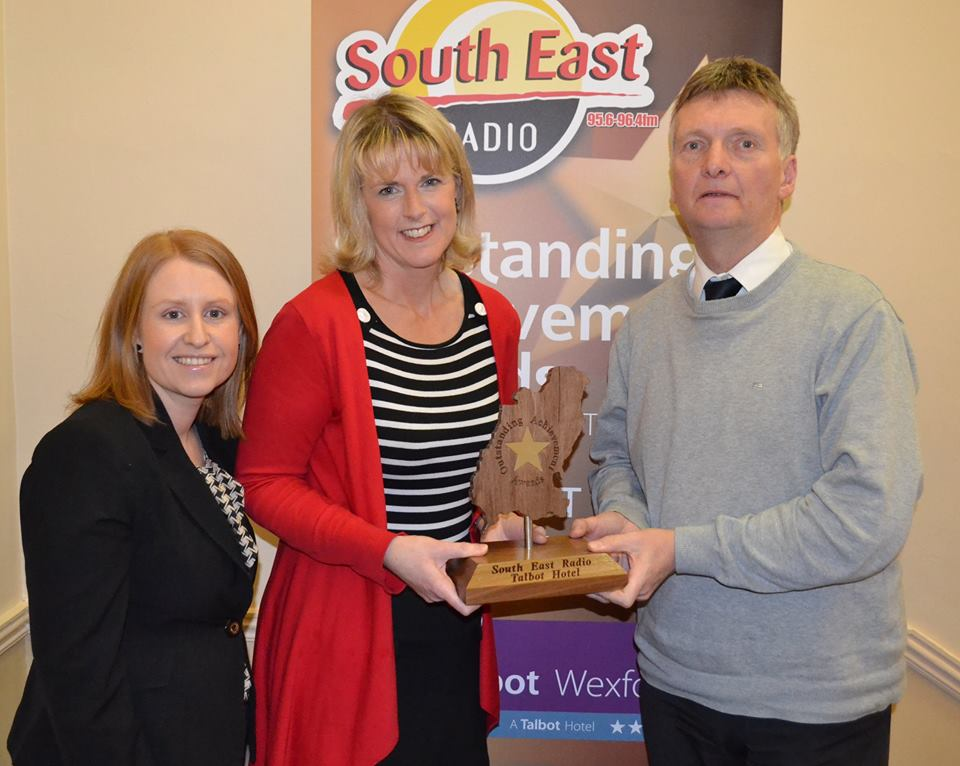 Joanne Doyle Feb winner Outstanding Achievement Award with Sarah Caulfield Sales and Marketing Manager Talbot Hotel and Alan Corcoran Presenter South East Radio's Morning Mix.