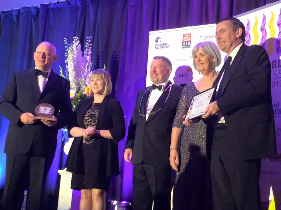 South East Radio Scoops Top Inaugural Business Award. Pictured ( L-R) Eamon Buttle ( Managing Director South East Radio), Lorene Crowley ( Wexford Bus), Martin Doyle ( President Wexford Chamber of Commerce), Madeline Quirke ( CEO Wexford Chamber of Commerce) Liam Dwyer ( General Manager South East Radio)