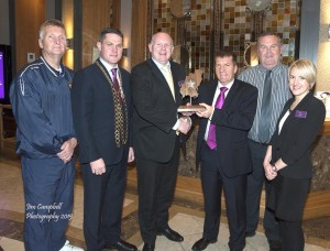 Matt English, CEO of Special Olympics Ireland was the July recipient of the Talbot Hotel South East Radio Outstanding Achievement Award pictured with Alan Corcoran, Mayor Cllr Ger Carthy, Dick Walsh (General manager, Talbot Hotel), Peader Dempsey (Special Olympics Wexford), Lisa Carmody (Talbot Hotel). Pic: Jim Campbell